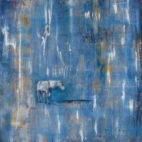 """When It Rains Amanda Wilner  40"""" x 40"""" oil, metal leaf, wax on canvas $4200"""