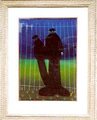 "By The Park Gates Mackenzie Thorpe 41"" x 32.5"" pastel on paper $10,500"