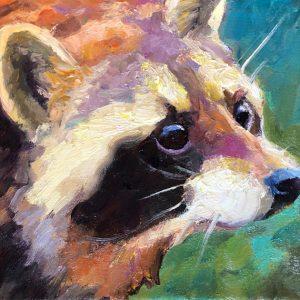 """Lil' Rascal</em>Sarah Webber by Sarah Webber 8"""" x 8""""oil on canvas"""