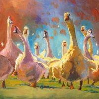 "Wild Goose Chase Sarah Webber 36"" x 36"" oil on canvas $4285"