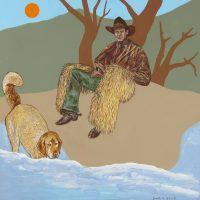 "Cowboy and Dog Joseph E. Young 36"" x 36"" acrylic on canvas $1675"