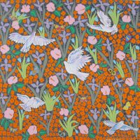 """Five Doves and Flowers Joseph E. Young  36"""" x 36"""" acrylic on canvas $1675"""