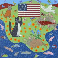 """Three Cats, Dog and Flag Joseph E. Young 36"""" x 36"""" acrylic on canvas $1675"""