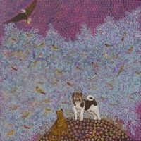 """Soaring Eagle, Cat, and Pup Joseph E. Young 36"""" x 36"""" acrylic on canvas $1675"""
