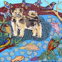 """Fuzzy Pup in Landscape Joseph E. Young 12"""" x 12"""" acrylic on canvas $425"""