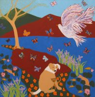 """Dog, Kitten and Flying Dove Joseph E. Young 36"""" x 36"""" acrylic on canvas $1675"""
