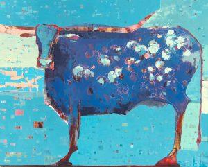 """Blue Vache by Sherri Belassen, 48"""" x 60"""", oil on canvas"""