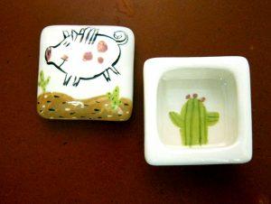 Flying Pig in Desert Ringbox - #1144 by Kathryn Blackmun, ceramic