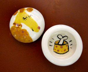 Yellow Poodle Ringbox #1145 by Kathryn Blackmun, ceramic