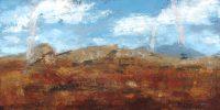 "Habitat Melissa Johnson 24"" x 48"" oil, cold wax & gold  leaf on canvas $1250"
