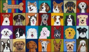 "Alphadog by Melinda D. Curtin, 21"" x 34"", acrylic on reversed glass"