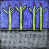 """Happy Cactus Nancy Pendleton 36"""" x 36"""" mixed media $3150"""