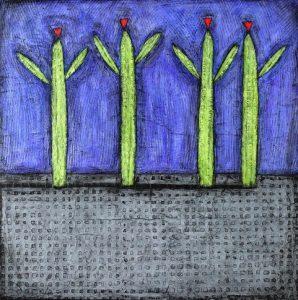 "Happy Cactus by Nancy Pendleton, 36"" x 36"", mixed media"