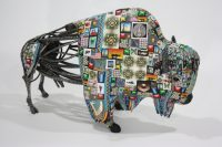 "Buffalo Adam Thomas Rees 14.5"" x 22.5"" x 8"" steel and mixed media $5000"