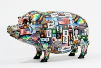 "Pig Adam Thomas Rees 10"" x 17"" x 6"" steel and mixed media $3900"
