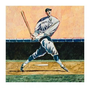 """Babe Ruth by Thom Ross, 12"""" x 13"""", watercolor on paper"""