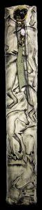 "White Raku Column - carved horse fable by Jill Smith, 22.5"" x 3.5"" x 3"", white raku clay/metal/obsidian"