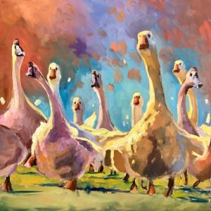 "Wild Goose Chase by Sarah Webber36"" x 36""oil on canvas$4285"