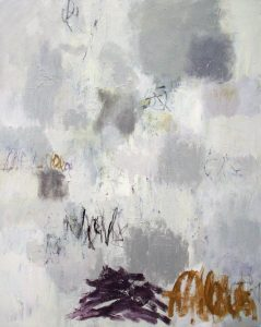 "Gray Landscape with Violet by Julie Schumer 60"" x 48""mixed media on canvas"