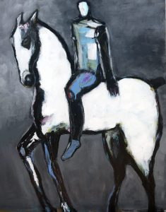 "Horse with Blue and Green Rider by James Koskinas, 60"" x 48"", acrylic on canvas"