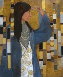 """Looking for Klimt by Melissa Johnson30"""" x 24"""" Mixed Media"""