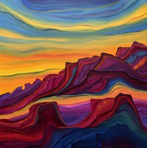 "Sunset Jewels by Judy Choate48"" x 48""acrylic on canvas"