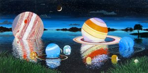 "The Solar System by Timothy Chapman, 24"" x 48"", acrylic on panel, $2750, Minimum Bid:  $1375, Current Bid:  $1375"