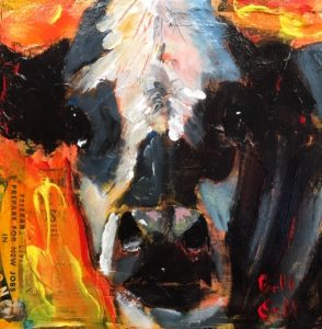 "Bandit by Bill Colt, 8"" x 8"", mixed media on canvas, $200, Minimum Bid:  $100, Current Bid:  $165"