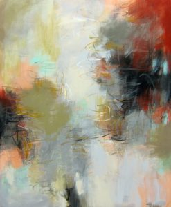 "In and Out of Time by Debora Stewart, 57"" x 47"", acrylic on canvas, $5250, Minimum Bid:  $2,625, Current Bid:"