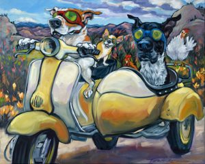 "Stubby & the Bird Dog by Connie Townsend, 24"" x 30"", oil on canvas, $2200, Minimum Bid:  $1,100, Current Bid:  $1,700"