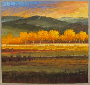 "Pueblo Land in Autumn by Jeff Cochran36"" x 38""oil on canvasValue:  $3200Minimum Bid:  $1600$50 incrementsCURRENT BID: $1700"