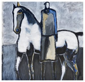 Horse & Rider w/ Blue by