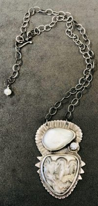 Necklace - Crazy Lace Agate Maggie Roschyk Crazy Lace Agate & Mother of Pearl $325