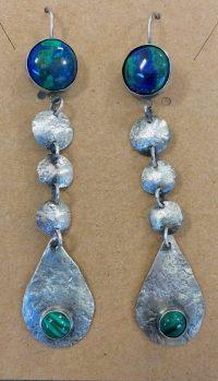 Earrings - Azuirte and Malachite Maggie Roschyk Azurite and Malachite Stones $129