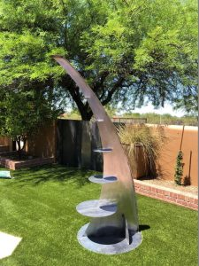 "Elevate by John Heiman, 96"" x 48"" x 36"", steel, $4400"