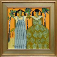 "Twins  Peggy McGivern 16"" x 16"" oil on canvas $1,700"