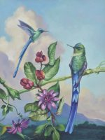 "Shimmering Sylphs Sarah Kathryn Bean Framed size: 22"" x 18"" oil on panel $1150 HOLD"