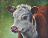"""Little Hereford Sarah Kathryn Bean Framed size: 20"""" x 24"""" oil on linen $1300"""