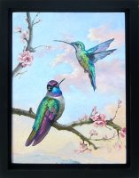 """Feathered Jewels Sarah Kathryn Bean 14"""" x 11"""" oil on panel $650"""