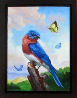 "Happiness: An Eastern Bluebird Sarah Kathryn Bean 14"" x 11"" oil on panel $650"