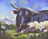 """Lil"""" Blackie: A Young Bull Sarah Kathryn Bean 26"""" x 32"""" oil on linen $2400"""