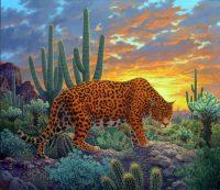 "Return of the Jaguar Stephen Morath 52"" x 60"" acrylic on canvas $8500"