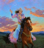 """Queen of the Rodeo Sunset Stephen Morath  48"""" x 44"""" acrylic on canvas"""