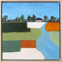 """Upstream Michelle Andres 17"""" x 17"""" oil on canvas $625"""