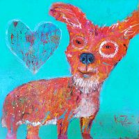 "Unconditional Love Kate Dardine 18"" x 18"" acrylic on panel $725"