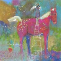 "Stairway to Heaven Kate Dardine 12"" x 12"" acrylic on panel $525"