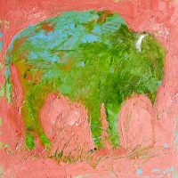"""Bison in a Rose Colored World Kate Dardine 8"""" x 8"""" $225"""