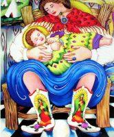 """Southwest Madonna Linda Carter Holman prints 31"""" X 27"""" giclee on paper framed $845"""