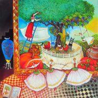 "Evocation to Life Linda Carter Holman prints 36"" x 36"" hand embellished print wrapped canvas - unframed $1135"