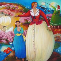 """Turn Right on Love Linda Carter Holman prints 38"""" x 38"""" hand embellished print wrapped canvas - unframed $1200"""